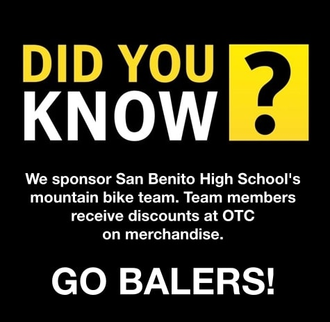 Supporting local kids, we sponsor the mountain bike team from San Benito High School